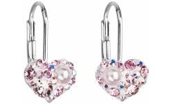 Stříbrné náušnice s krystaly Swarovski 31125.9 Light rose
