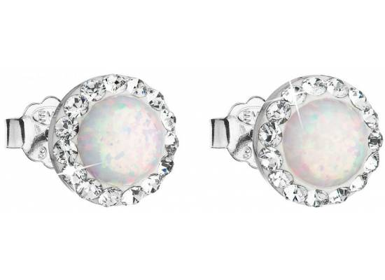 Stříbrné náušnice pecky se syntetickým opálem a krystaly Swarovski 31217.1 White s.Opal na puzetu
