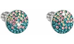 Stříbrné náušnice s krystaly Swarovski 31336.3 magic indicolite