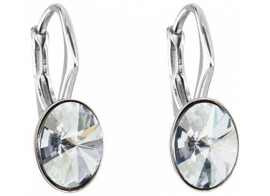 Stříbrné náušnice visací s krystaly Swarovski 31276.5 blue shade
