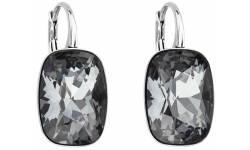 Stříbrné náušnice visací s krystaly Swarovski 31277.5 silver night