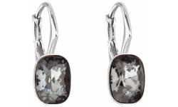 Stříbrné náušnice visací s krystaly Swarovski 31278.5 silver night