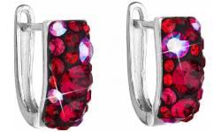 Stříbrné náušnice s krystaly Swarovski 31123.3 Cherry