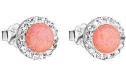 Stříbrné náušnice pecky se syntetickým opálem a krystaly Swarovski 31217.1 Coral s.Opal na puzetu