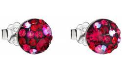 Stříbrné náušnice s krystaly Swarovski 31136.3 Cherry