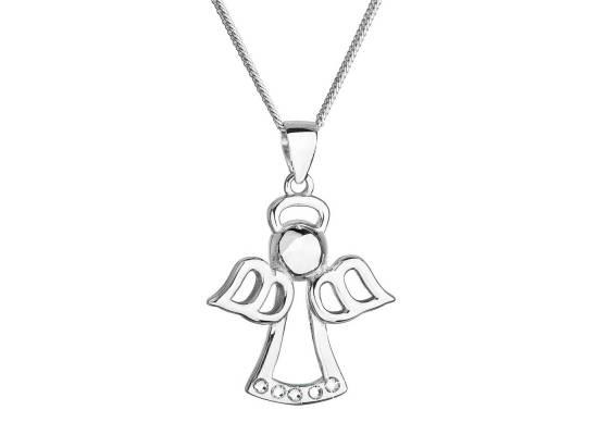 Stříbrný náhrdelník anděl se Swarovski krystaly bílý 32076.1 Krystal