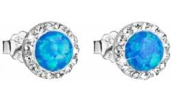 Stříbrné náušnices krystaly Swarovski Blue opal