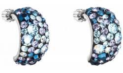 Stříbrné náušnice s krystaly Swarovski 31164.3 Blue Style