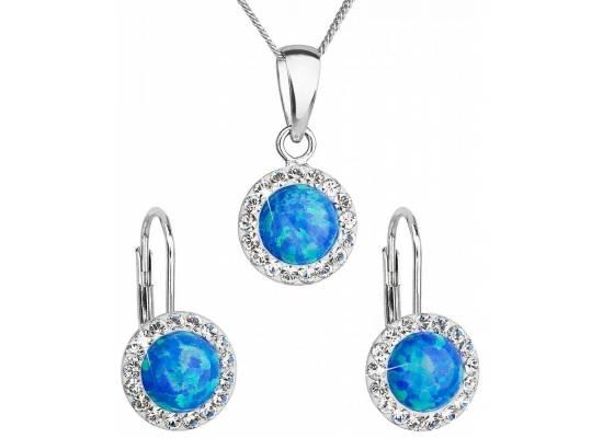 Sada šperků se syntetickým opálem a krystaly Swarovski 39160.1 Blue Opal