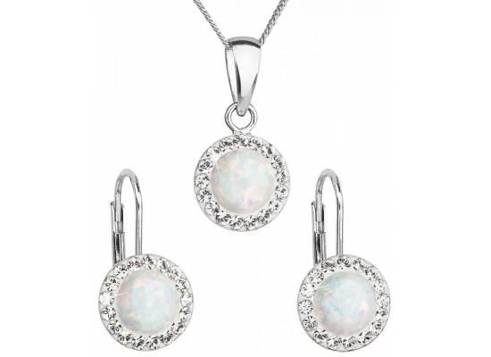 Sada šperků se syntetickým opálem a krystaly Swarovski 39160.1 White opal