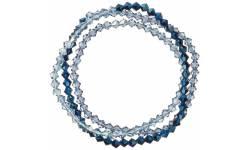 Křišťálový náramek se Swarovski elements třikrát zatočený 33081.3 METALIC BLUE