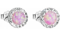 Stříbrné růžové náušnice pecky se syntetickým opálem a krystaly Swarovski 31217.1 Light Rose s.Opal na puzetu