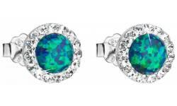 Stříbrné náušnice s krystaly Swarovski 31317.1 Green opal na šroubek