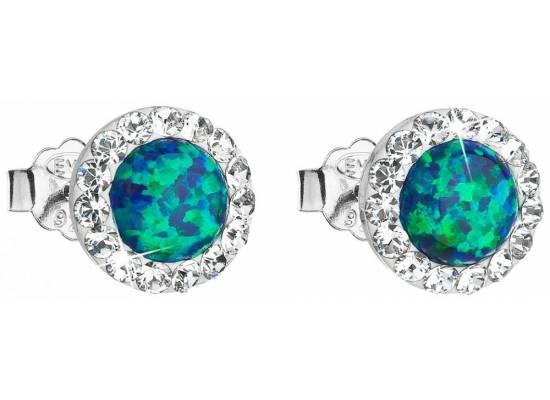 Stříbrné náušnice s krystaly Swarovski 31317.1 Green opal