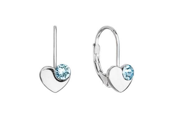 Stříbrné visací náušnice se Swarovski krystaly modré srdíčka 31299.3 Aqua